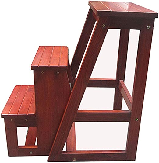 Taburete Escalera de Madera de 3 escalones para Adultos y niños, para Interior y Cocina, Banco de Zapatos portátil/Estante de Flores escaleras de Madera, Color marrón Claro: Amazon.es: Hogar
