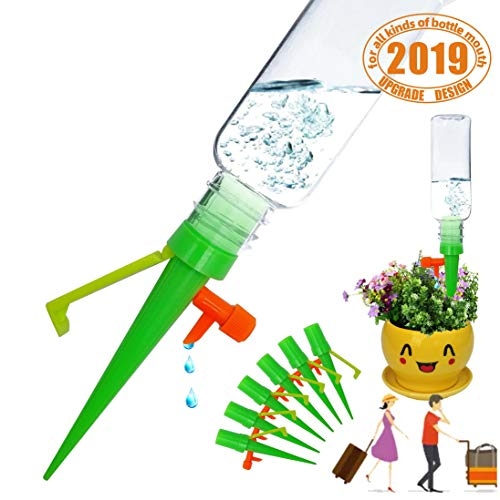 House Indoor Plant Automatic Self Watering Spike Drip Control Devices Adjustable Bottle Mount Irrigation Drip Last 20 Days with Slow Release Controller Garden Tools Vocation Travel (6PCS-Green pack)
