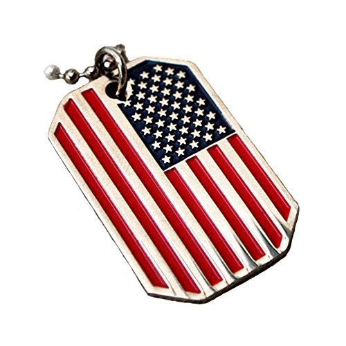 VENICEBEE USA Flag Pendant American Old Glory Stars Stripes Dog TAG Ball Chain Necklace US