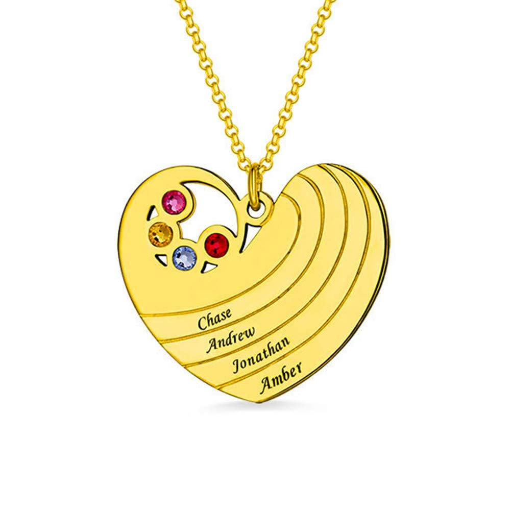 7b0361273f77a Family Name Necklace Personalized with Heart Shape Engraved with 4 ...