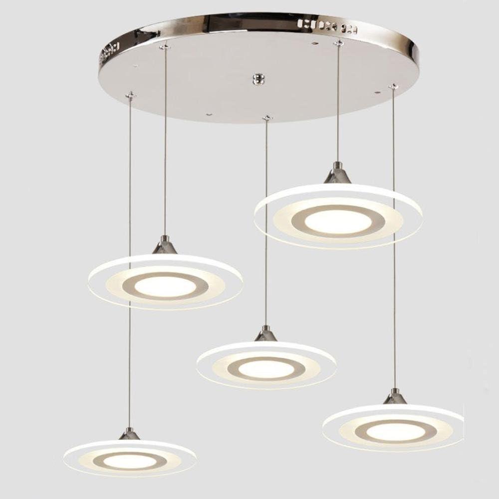 5 luci LED rotondo lampade a sospensione, paralume Acrilico