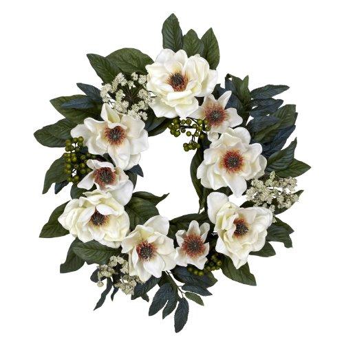 Nearly Natural 4793 Magnolia Wreath, 22-Inch, White