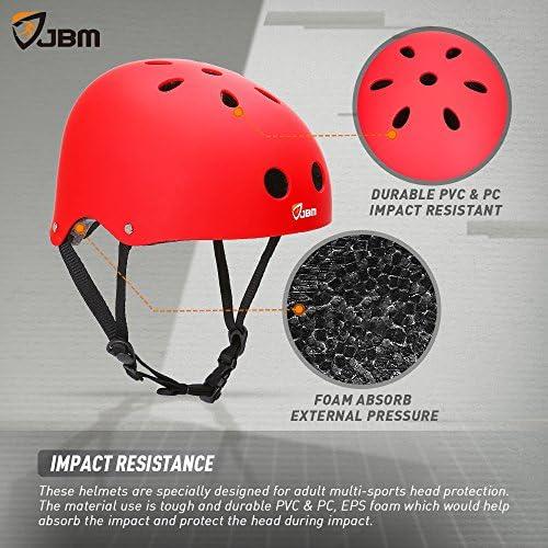 JBM Skateboard Helmet CPSC ASTM Certified Impact Resistance Ventilation for MultiSports Cycling