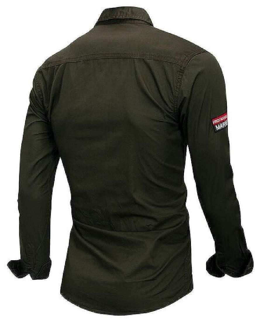 GRMO Men Casual Plain Outdoor Long Sleeve Pocket Button Down Shirt Top