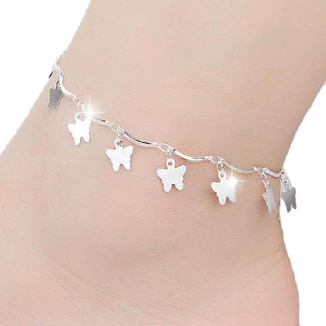 Quaant Anklet,Gussy Life Wholesale Butterfly Women Chain Ankle Bracelet Barefoot Sandal Beach Foot Jewelry Silver