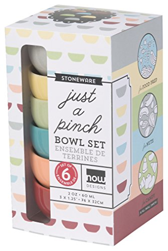 Now Designs Pinch Bowls (Set of 6), Modern Colors by Now Designs