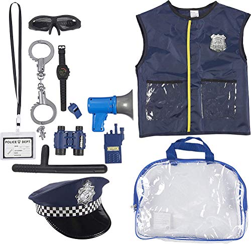 Police Uniform for Kids - 13-Piece Police Officer Costume Role Play Kit with Hat, Vest, Handcuffs, Bag, and Other Accessories for Pretend Play, Halloween Dress Up, School Play for Boys and Girls (Boys Uniform Police)