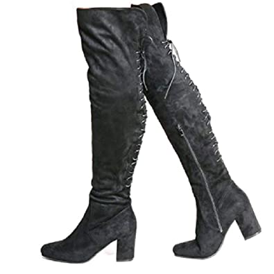 d9dddc54e Lily's Boutique Womens Ladies Mid Chunky Heel Lace Up Back Over The Knee  Long Boots Cowboy Thigh High: Amazon.co.uk: Shoes & Bags