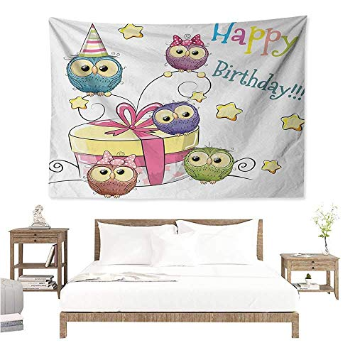 Angel-LJH Kids Birthday,Hanging Tapestry Sketchy Hand Drawn Baby Owls on Surprise Present Box and Stars Image Print 72W x 54L Inch Multi Functional Hanging Blanket Multicolor (Best Tapestries On Society6)