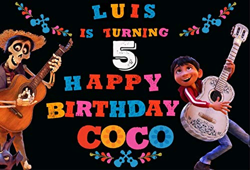 ERIC 7x5ft Coco Birthday Party for Kids Photography Backdrops Vinyl Background Coco Birthday Banner Party Backdrop Decoration Custom Name and Age QS-002]()