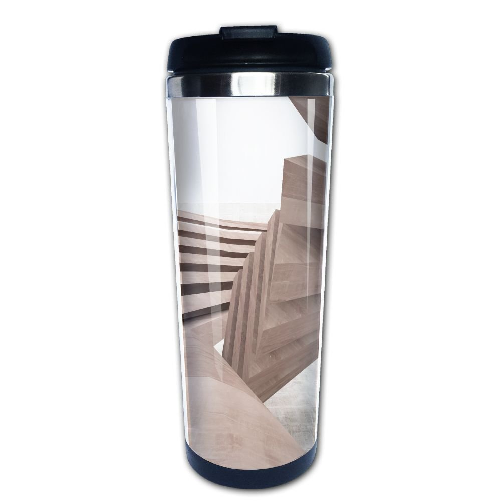 Kooiico Abstract Smooth Brown Concrete Future Interior With A Large Window Architectural Background Coffee Mug Thermal Cup With Easy Clean Lid 14-Ounce Mug