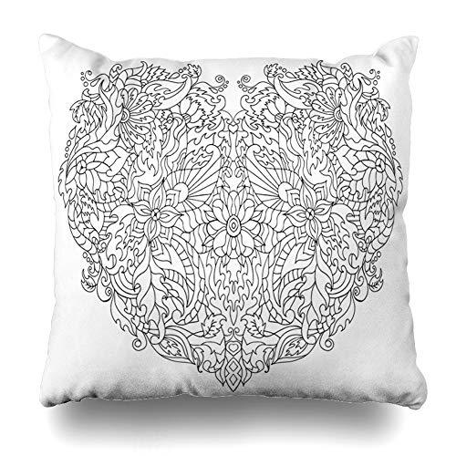 Ahawoso Throw Pillow Cover Floral Heart Adult Anti Stress for Coloring Page High Relax Details Made by Trace from Sketch Decor Zippered Cushion Case 18