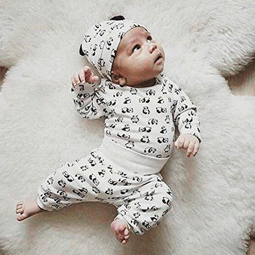 Omiky® 3 Stücke Kleinkind Baby Neweborn Jungen Mädchen Cartoon Panda Tops Hosen Outfit Set Kleidung Weiß