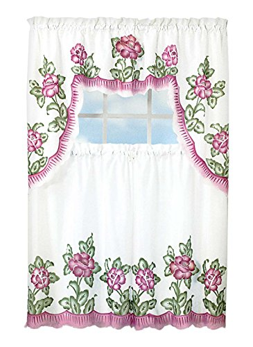 Carol Wright Gifts Floral Applique Kitchen Curtain Set, Rose