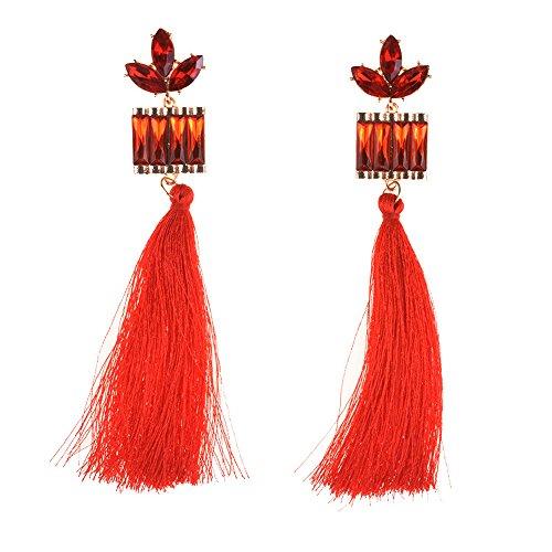 Lucky Clover Long Tassel Earrings vintage fashion Elegant Gold Plated Jewelry Women Bohemian Rhinestones Crysta Fringe Dangle (Red) (Lucky Rhinestone Earrings)