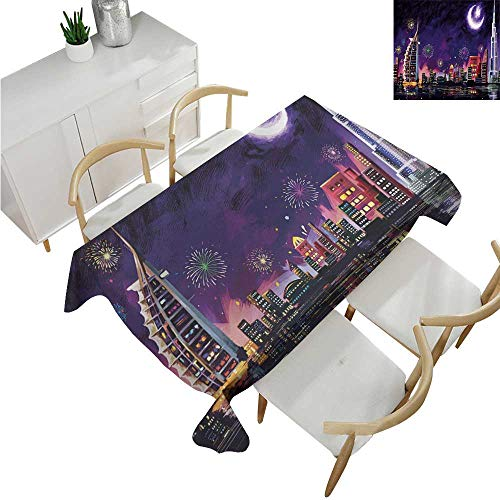 familytaste Landscape,Table Cloth Printed,Illustration of Eid Celebration at Night in Dubai Skyscrapers and Firework Print,Party Tablecloth Covers 54