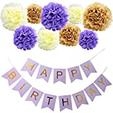 KUNGYO Purple Happy Birthday Flag Bunting Banner and Set of 9 Tissue Paper Pom Poms Flowers Garland for Birthday Party Decorations
