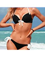 Sexy Women's Bikini Push-up Padded Bra Swimsuit Bathing pink Suit Swimwear Size L