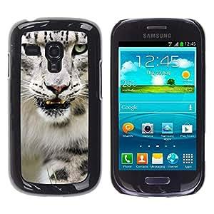 Caucho caso de Shell duro de la cubierta de accesorios de protección BY RAYDREAMMM - Samsung Galaxy S3 MINI NOT REGULAR! I8190 I8190N - Angry Roar Leopard Snow White Furry