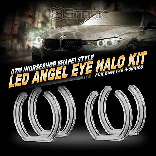 Stark Crystal Angel Eyes [NO FACTORY HID] - DTM Style - Horseshoe - 16M Colors - RGB w/Bluetooth App Retrofit (4 Pieces) Compatible with BMW Angel Eye - Fits F30 3 Series Sedan 4DR