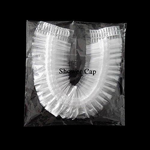 100 gorras de ducha desechables, plástico elástico para uso en el hogar, hotel, Spa y peluquería, paquete de 100 piezas envueltas individualmente: ...
