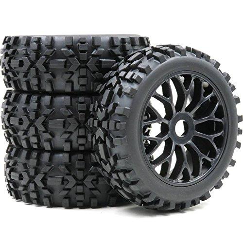 hobbysoul 4pcs 1:8 RC Off Road Buggy Tires & Hex 12mm Wheels For Losi HPI XTR Badlands Car Upgrade ()