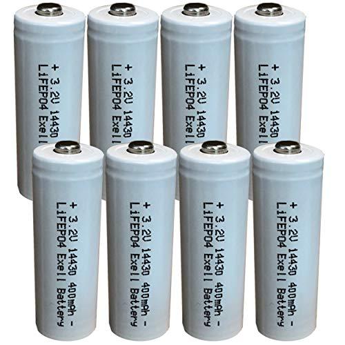 (8-Pack) Exell Battery 3.2V Li-FePO4 Size 14430 (14 x 43mm) 400mAh Rechargeable Battery For Garden Lights