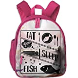 Dream-R School Backpack Eat Sleep Fish Children Printed Oxford Fabric Backpack With Front Pockets Pink