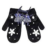 Ballet Rabbit Flower Christmas Great Gift Knitted Warm Mittens for Women (Black)