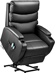 Power Lift Massage Recliner Chair for Elderly, Heavy Padded Cushion, Remote Control, Home Theater Seating, Leisure Lounge w/Side Pocket, Living Room Office (Black)