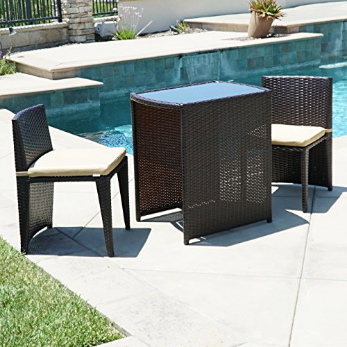 Belleze Patio Furniture Wicker 3pc Bistro Set W/ Glass Top Table, 2 Chairs UV Cushion Brown (Glass Cafe Table)