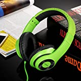 AUSDOM® Lightweight Wired Over-Ear HD Stereo Headset Sports Music Headphone with In-line Microphone Computer Game Headset, Comfortable Soft Leather Ear Cups (Green)
