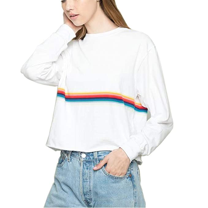 Rainbow Cropped Crewneck Sweatshirts Women Cute White Aesthetic Tumblr Crop  Sweaters Oversized Teen Girls