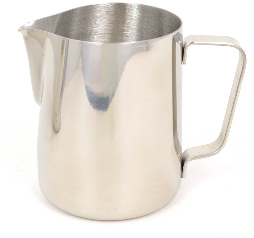 BrewGlobal Rhinoware Professional Milk Pitcher, Stainless Steel 12 oz (RHMJ12OZ)