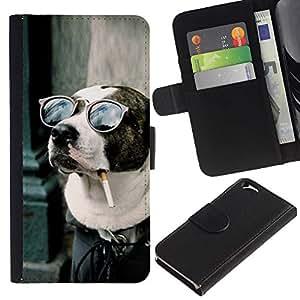 All Phone Most Case / Oferta Especial Cáscara Funda de cuero Monedero Cubierta de proteccion Caso / Wallet Case for Apple Iphone 6 // American Pit Bull Terrier Dog Smoking