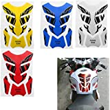 3D Motorcycle Universal Flame Fishbone Rubber Sticker Decals as Fuel Tank Pad Protector Cover (White)