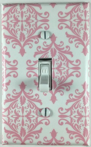 Damask Light (Pink White Damask Single Decorative Single Toggle Light Switch Plate)