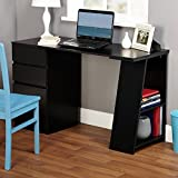 Modern Multi-functional Writing Desk with Drawers and Shelf Along One Side Provides Storage for Books and More witht Smooth Surface Ideal for Working BONUS E-book