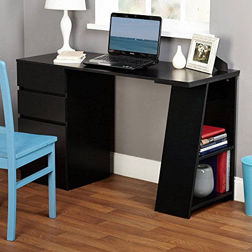 Modern Multi-functional Writing Desk with Drawers and Shelf Along One Side Provides Storage for Books and More witht Smooth Surface Ideal for Working BONUS E-book by Best Care LLC