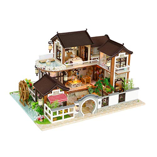 Cool Beans Boutique Miniature DIY Dollhouse Kit Wooden Asian Traditional Mansion - with Dust Cover - Architecture Model Kit (English Manual) from Cool Beans Boutique