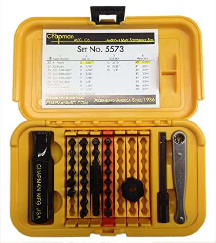 Chapman MFG 1-5573 SAE & Metric Allen Hex Mini Ratchet & Screwdriver Tools Set Made in USA Phillips, Slotted & Allen Hex (Hex Key Screwdriver Set)