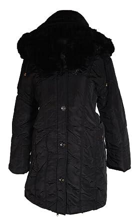 DAMEN WARM WINTER JACKE FELL KAPUZE MANTEL PARKA 44 46 48 50 52 L XL XXL SCHWARZ