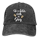 Waldeal Life is Better with A Dog-1 Vintage Jeans Baseball Cap for Men and Women Baseball Cap Adult Washed Cowboy Hat Black