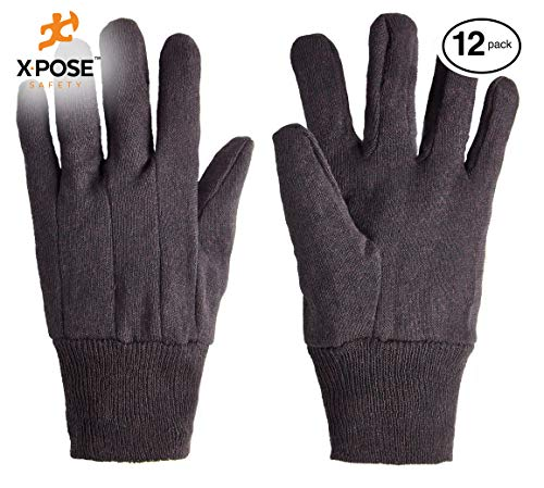 Protective Work Gloves - 12 Pack For Industrial Labor, Home and Gardening Jersey Knit Cotton and Polyester Blend - 9oz Fleece - Men's Large - Brown by Xpose Safety by Xpose Safety