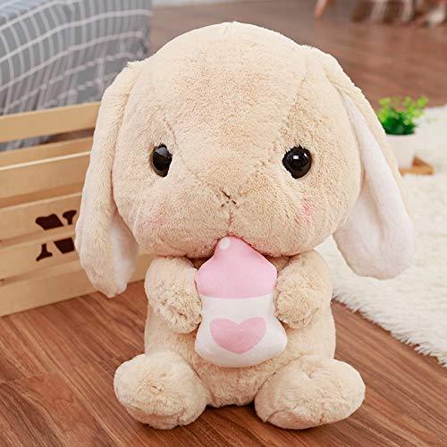 MIIA Rabbit Stuffed Animal - Classical Soft Rabbit Stuffed Animal Bunny Plush Toy Rabbit Plush Pillow for Kids Friend Girls - 18 Inch Brown with Bottle - Huge Bulk Realalistic Benjamin