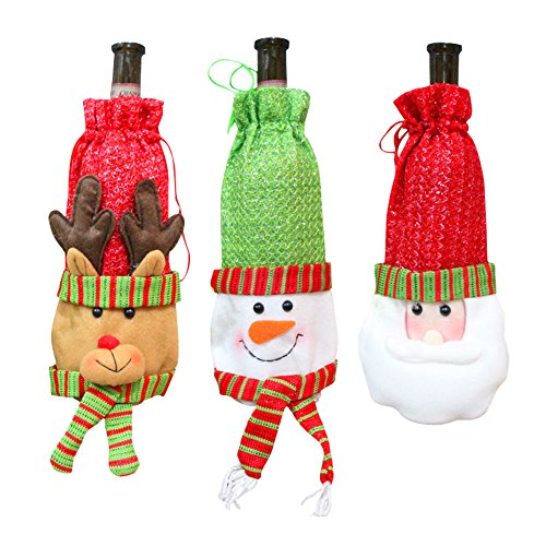 3 Pcs Santa Claus Wine Bottle Cover Red Wine Bags, OWIKAR Christmas Wine Bottle Gift Bags Set Drawstring Christmas Wine Bottle and Candy Bags