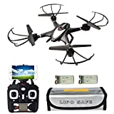 X400WH FPV Quadcopter Drone with Camera Live Video 720P, 2 battery and Fireproof Pouch, 2.4GHz 4CH 6-Axis Gyro Altitude Hold Hover Drone, RTF Quadcopter with Headless Mode, One Key Return Black