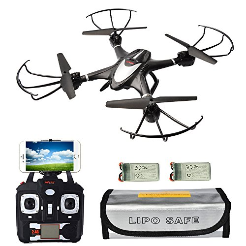 X400WH FPV Quadcopter Drone with Camera Live Video 720P, 2 battery and Fireproof Pouch, 2.4GHz 4CH 6-Axis Gyro Altitude Hold Hover Drone, RTF Quadcopter with Headless Mode, One Key Return Black by R RECOMFIT