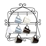 MyGift Wall-Mounted Mug Rack, 10 Hook Scrollwork Framed Kitchen Organizer, Black