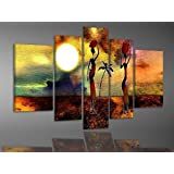 100% Hand-painted Best-selling Quality Goods Wood Framed on the Back Printing and Dyeing African Women High Q. Wall Decor Landscape Oil Painting on Canvas 5pcs/set Mixorde